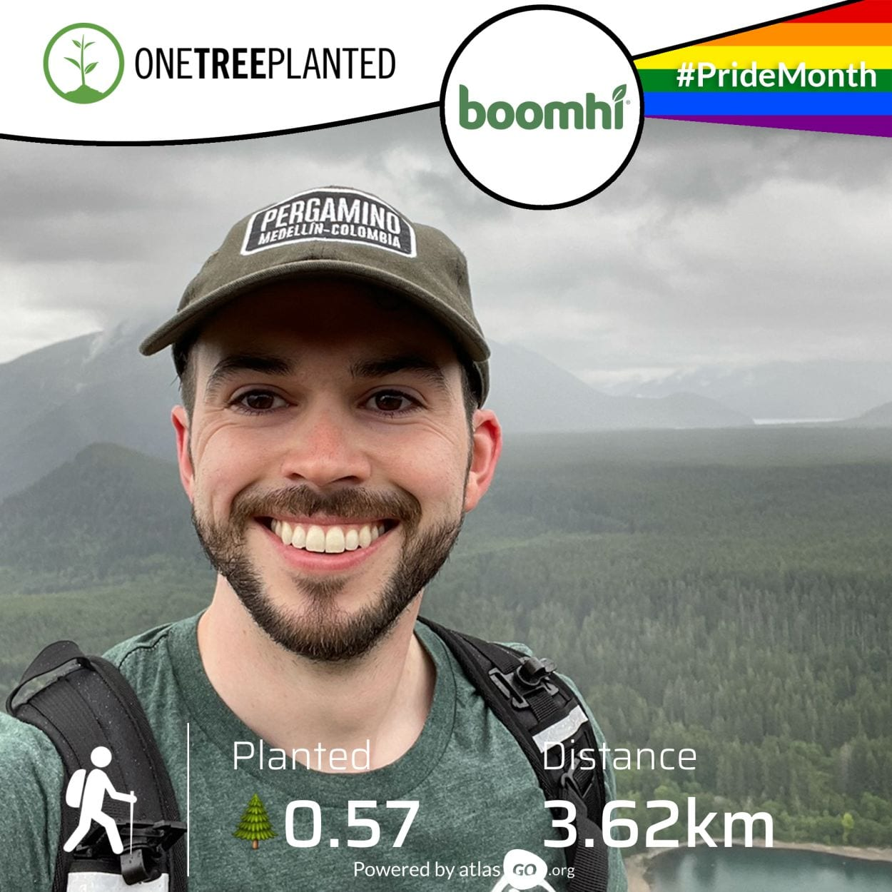 man smiling with mountain on background